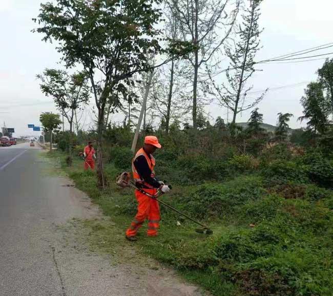 贾汪公路站对252省道进行 路肩打草工作