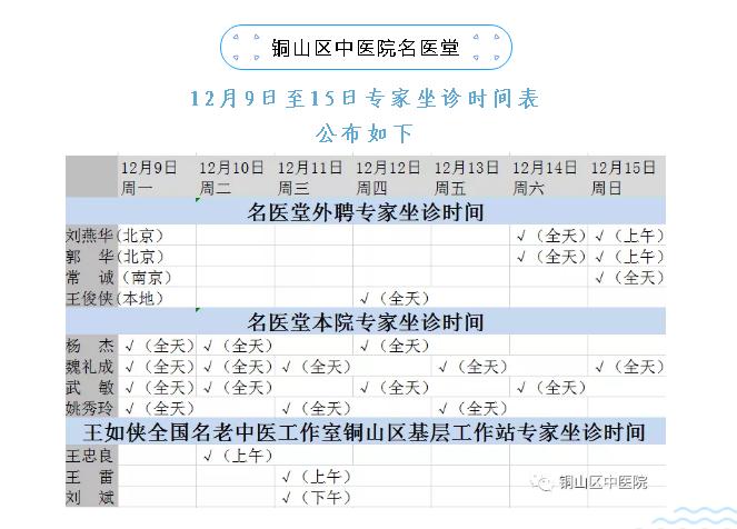 铜山区中医院名医堂12月9日至15日专家坐诊时间表