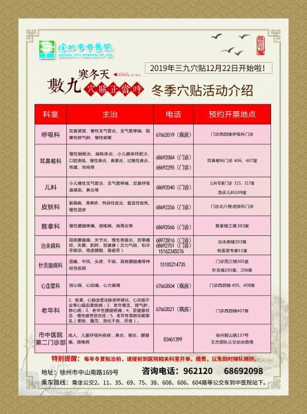 徐州市中医院019年三九穴贴12月22日开始啦!
